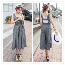 TE6421YZS OL Korean style sleeveless suspender empire waist wide leg jumpsuit