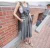 TE6421YZS OL Korean style sleeveless suspender empire waist wide leg jumpsuit
