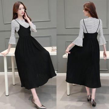 TE8815JDYJ Korean fashion joker sweet stripes t-shirt with suspender dress