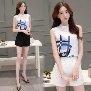 TE8816JDYJ Korean fashion temperament print chiffon vest tops with empire waist shorts