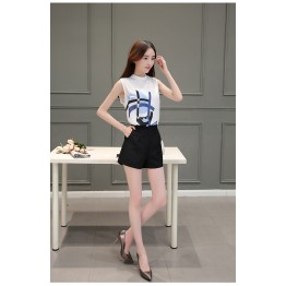 TE8816JDYJ Korean fashion temperament print chiffon vest tops with empire waist shorts