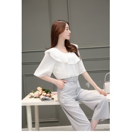 TE8817JDYJ Korean fashion flouncing chiffon blouse with wide leg pants