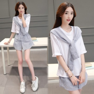 TE8820JDYJ Korean fashion stripes splicing bowknot tops with pantskirt