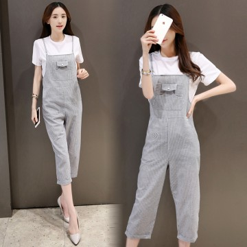 TE8821JDYJ Korean fashion casual fresh white t-shirt with stripes suspender pants