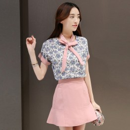 TE8822JDYJ Fashion shivering bowtie tops with skirt