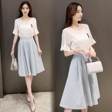 TE8823JDYJ Korean fashion flouncing sleeve tops with stripes skirt