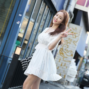TE9910WJYS Trumpet half sleeve lace splicing slim waist dress