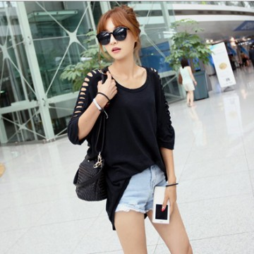 TE9911WJYS Modal loose large size off shoulder round neck t-shirt