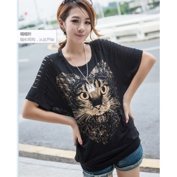 TE10016TTCR Loose splicing cat pattern t-shirt