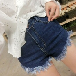 TE1248DXE Slim empire waist tassel denim shorts