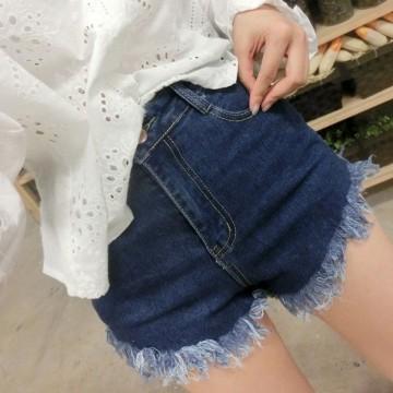 TE1248DXE Slim empire waist tassel denim shorts