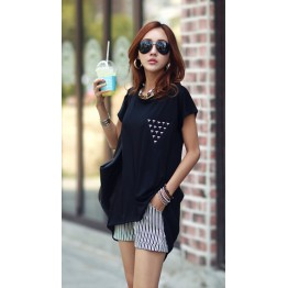 TE1452GJWL Casual comfortable irregular splicing long t-shirt