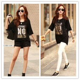 TE1454GJWL Korean fashion casual comfortable sequins letters long t-shirt