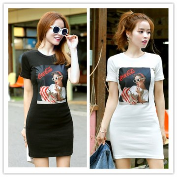 TE1305GJWL Korean style beauty heart print slim long t-shirt