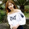 TE1306GJWL Japanese fashion cute flower embroidery boat neck shirt