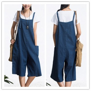 TE1310GJWL Loose casual fashion comfortable joker suspender wide leg denim pants