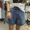 TE1505DXE Korean fashion new style wide leg holes denim shorts