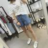 TE1505DXE Korean fashion new style wide leg holes denim shorts