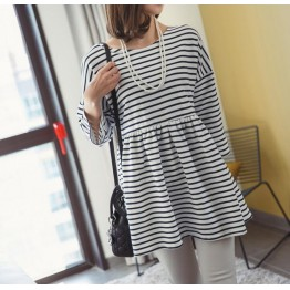 TE3104YZS Korean style stripes loose backless hollow out A-line maternity dress