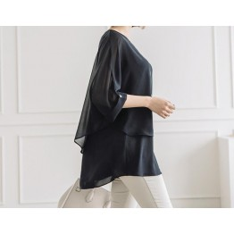TE3042YZS Loose chiffon fake two piece long blouse