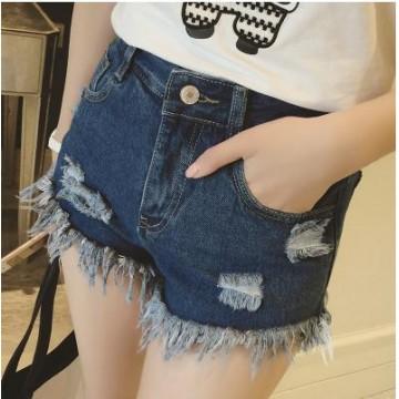 TE5089DDFS Korean fashion slim casual holes denim shorts
