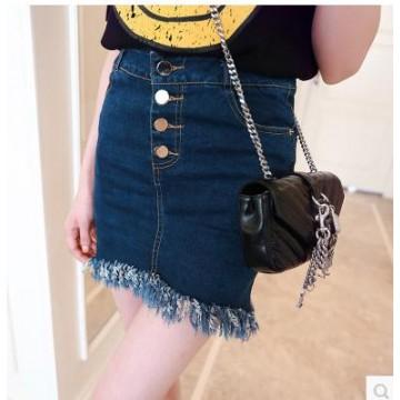 TE5090DDFS Korean style one row buttons tassel denim skirt