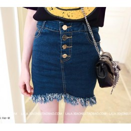 TE5090DDFS Korean style one row buttons tassel denim skirt
