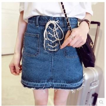 TE5108DDFS Korean fashion cross lacing A-line denim skirt
