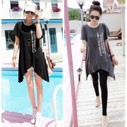 TE5568DFYL Fashion irregular hem loose large size letters print maternity t-shirt