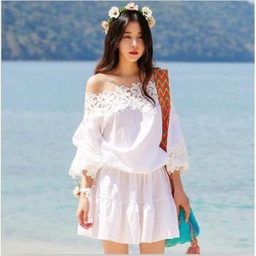TE5771JZYS Lace boat neck plus size dress