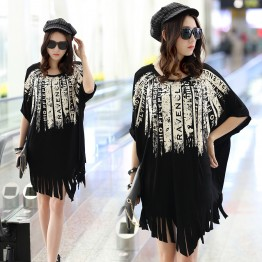 TE6034AYY Loose large size print tassel hem maternity dress