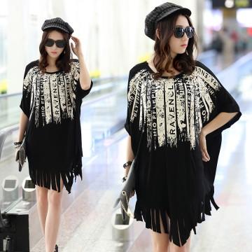 TE6034AYY Loose large size print tassel hem maternity dress
