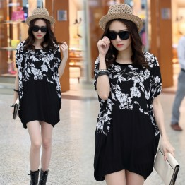 TE6044AYY Loose large size print splicing batwing sleeve maternity t-shirt