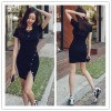 TE6425YZS Buttons v neck slim waist side slit tight hip dress