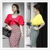 TE6426YZS Candy color v neck lacing two layers flouncing sleeve cape tops