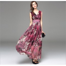 TE8020HES New style bohemia fashion chiffon v neck sleeveless dress