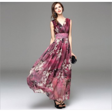 TE8020HES New style bohemia fashion chiffon v neck sleeveless dress