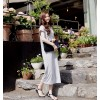 TE8257HJYS Korean style v neck batwing sleeve personality side slit long dress
