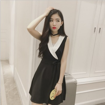 TE8896YGFS Korean fashion sleeveless color matching v neck slim waist bowknot dress