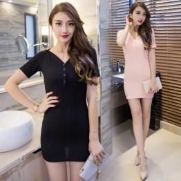 TE9292WMSS Korean style sexy deep v neck tight hip club dress