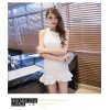 TE9296WMSS Europe style debutant round neck slim flouncing sleeveless forked tail dress