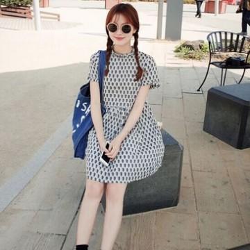 TE9912WJYS Summer sweet fresh print petal collar dress