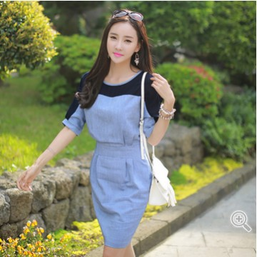 TE9915WJYS Simple splicing batwing sleeve slim dress