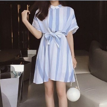 TE9916WJYS Korean fashion fresh loose stripes print dress