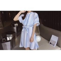 TE9916WJYS Korean fashion fresh loose stripes print dress