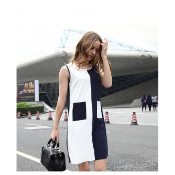 TE1170BNYR Star style geometry pattern splicing chiffon dress