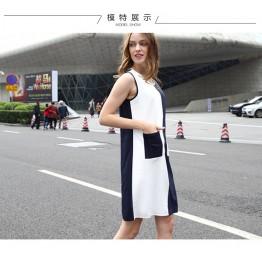 TE1170BNYR Star style geometry pattern splicing chiffon dress