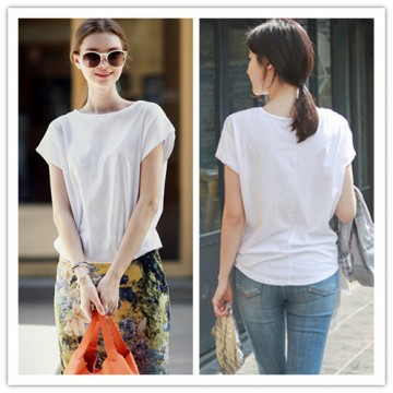 TE1292GJWL Newest fashion comfortable loose batwing sleeve forked tail t-shirt