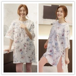 TE1464GJWL Newest Korean style casual comfortable loose print long t-shirt