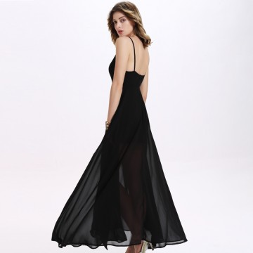 TE2126OMSS Europe fashion backless sexy chiffon split irregular gallus dress